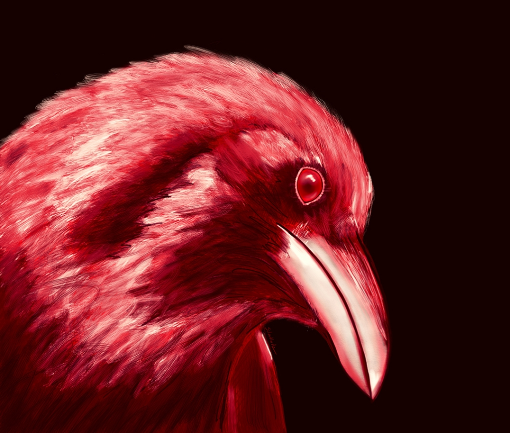 Inktober Red Raven October 8 2018
